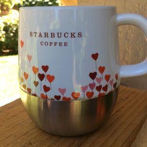 Starbucks metal bottom mugsith hearts